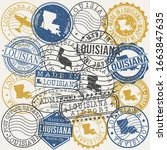 louisiana  usa set of stamps.... | Shutterstock .eps vector #1663847635