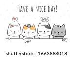 cute adorable kawaii cat kitten ...   Shutterstock .eps vector #1663888018