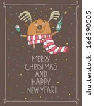 funny deer christmas cards | Shutterstock .eps vector #166390505