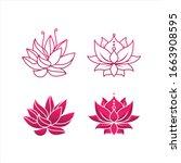 lotus flower logo vector... | Shutterstock .eps vector #1663908595