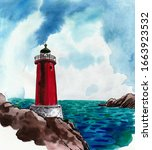 Lighthouse At The Seaside. Ink...