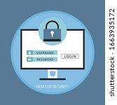 desktop computer with unlocked... | Shutterstock .eps vector #1663935172
