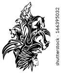raster   native american chief... | Shutterstock . vector #166395032