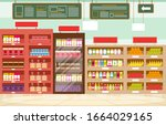supermarket grocery shelf store ... | Shutterstock .eps vector #1664029165