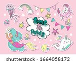 birthday set with fashion patch ... | Shutterstock .eps vector #1664058172