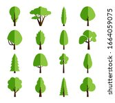 flat tree collection. set of...   Shutterstock .eps vector #1664059075