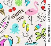 summer time. set of summer... | Shutterstock .eps vector #1664062525