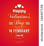 happy valentines day card... | Shutterstock .eps vector #166407158