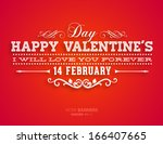 happy valentines day card... | Shutterstock .eps vector #166407665
