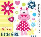 Stock vector hippo baby girl shower card vector illustration 166407872
