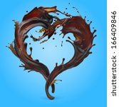 Design element. Brown coffee splashes moving to each other in shape of heart as symbol of love - stock photo