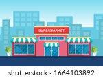 supermarket grocery store... | Shutterstock .eps vector #1664103892