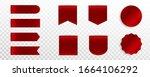set of red premium label  badge ... | Shutterstock .eps vector #1664106292