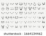 hand drawn emotions set. face... | Shutterstock .eps vector #1664134462