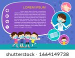 doctor and children wear a... | Shutterstock .eps vector #1664149738