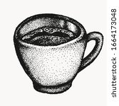 coffee cup hand drawn vector... | Shutterstock .eps vector #1664173048