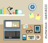 set of office workplace items... | Shutterstock .eps vector #166418222
