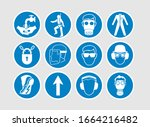 industrial safety signs vector... | Shutterstock .eps vector #1664216482