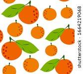 orange  citrus seamless pattern.... | Shutterstock .eps vector #1664219068