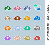 set of cloud technology icons...