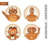 steampunk robots icons set...