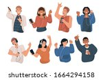 happy young people wearing... | Shutterstock .eps vector #1664294158