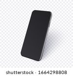 3d phone mockup in perspective... | Shutterstock .eps vector #1664298808