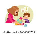 mother playing with kid at home.... | Shutterstock .eps vector #1664306755