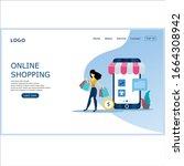 online shopping concept lending ... | Shutterstock .eps vector #1664308942