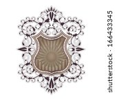 ornate shield label design... | Shutterstock . vector #166433345