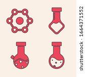 set test tube and flask... | Shutterstock .eps vector #1664371552