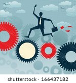 Abstract Businessman runs on a machine. Great illustration of Retro styled Businessman running like the wind on a giant cog machine in order to keep the business working. - stock vector