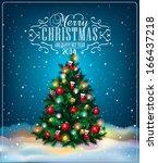 christmas tree. winter holidays ... | Shutterstock .eps vector #166437218