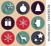 Vector Flat Christmas Icons In...