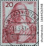 Small photo of GERMANY - CIRCA 1957: a postage stamp printed in Germany showing an image of Paul Gerhardt, circa 1957.