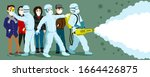 a group of people in protective ... | Shutterstock .eps vector #1664426875