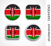 set of kenya flag glass icons ... | Shutterstock .eps vector #166443062