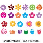 set of the colorful flowers... | Shutterstock .eps vector #1664436088