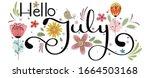 hello july. july month vector... | Shutterstock .eps vector #1664503168