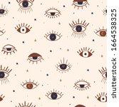 hand drawn eyes mystical... | Shutterstock .eps vector #1664538325