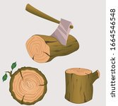 Stump With Axe Isolated On...