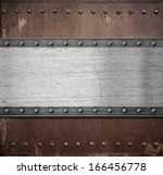 old metal plate over rusty... | Shutterstock . vector #166456778