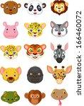 wild animal head cartoon... | Shutterstock .eps vector #166460072