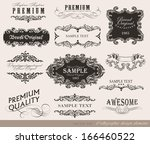 calligraphic design elements ... | Shutterstock .eps vector #166460522