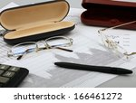 business still life of pen ... | Shutterstock . vector #166461272