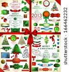 christmas icons set and...   Shutterstock .eps vector #166462232