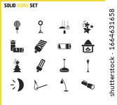 light source icons set with...