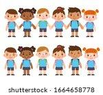 a set of six cute cartoon... | Shutterstock .eps vector #1664658778