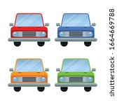 set of cars front view of... | Shutterstock .eps vector #1664669788