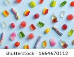 Candy variety pattern on a blue ...